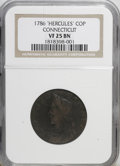 1786 COPPER Connecticut Copper, Hercules Head VF25 NGC. NGC Census: (0/0). PCGS Population (3/4). (#334)