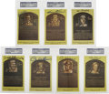 Autographs:Post Cards, Signed Gold Hall of Fame Plaques PSA-Graded Group Lot of 7. Sevensigned examples of the famed gold Hall of Fame plaque pos...