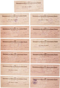 Autographs:Checks, 1939-42 Monty Stratton Signed Checks Lot of 13, Monty Stratton's desirable signature comes to us here in bulk, with a total...
