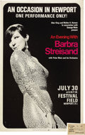 Music Memorabilia:Posters, Barbra Streisand Festival Field, Newport Concert Poster and Pass(Alan King, Walter Hyman, 1966). A pregnant Barbra Streisa...(Total: 2 Item)