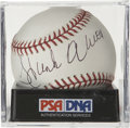 Autographs:Baseballs, Hank Aaron Single Signed Baseball, PSA Mint 9. Ample in both sizeand quality, the Hank Aaron autograph that we see here mak...