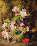 Fine Art - Painting, European:Antique  (Pre 1900), GEORGE CLARE (British, 1844-1899). Floral Still Life with aBird's Nest on a Mossy Bank. Oil on canvas. 12 x 10-1/8 inch...