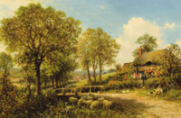 BENJAMIN WILLIAMS LEADER (British, 1831-1923) Spring Cottage with Shepherd and Flock, 1896 Oil on ca