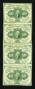 Fractional Currency:First Issue, Fr. 1242 10c First Issue Strip of Four Very Fine-Extremely Fine....