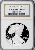Modern Bullion Coins, 2008-W $1 Silver Eagle PR70 Deep Cameo NGC. NGC Census: (0/0). PCGSPopulation (81/0). (#393059)...