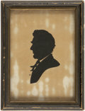 Political:Small Miscellaneous (pre-1896), Abraham Lincoln: Bearded Silhouette Portrait and Vintage Frame....