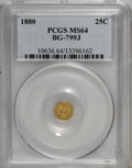 California Fractional Gold: , 1880 25C Indian Octagonal 25 Cents, BG-799J, R.3, MS64 PCGS. PCGSPopulation (39/41). NGC Census: (2/7). (#10636)...