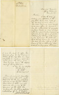 """Autographs:Military Figures, C.S.A. General Henry Heth Autograph Letter Signed - A. P. Hill Joins the Confederacy H Heth Lt Col & A.Q.M.G"""". Two pages..."""