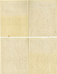 "A. P. Hill, Autograph Letter Signed to Robert E. Lee, Requests Appointment as Major General four pages, 7.5"" x 9.75..."