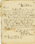 """Military & Patriotic:Civil War, Alexander Swift (Sandie) Pendleton Autograph Letter Signed to Jubal Early About His Arrest, """"A. S. Pendleton"""", one page,..."""