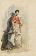 Fine Art - Painting, American:Antique  (Pre 1900), ROBERT FREDERICK BLUM (American 1957-1903). Woman In A Shawl Holding A Fan, circa 1878-80. Watercolor on paper. 17 x 11 ...