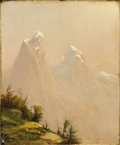 Paintings, JOHN WILLIAMSON (American 1826-1885). Snow Peaks. Oil on canvas. 13-1/2 x 10-1/2 inches (34.3 x 26.7 cm). Initialed lowe...