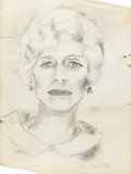 Fine Art - Painting, American:Contemporary   (1950 to present)  , ELAINE MARIE DE KOONING (American 1918-1989). Head Of Ethel,circa 1964. Pencil on paper. 24 x 18 inches (61 x 45.7 cm)...