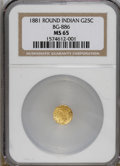 California Fractional Gold: , 1881 25C Indian Round 25 Cents, BG-886, High R.5, MS65 NGC.Characterized by huge stars 9 and 10, that the BG-reference sta...