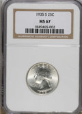 Washington Quarters: , 1935-S 25C MS67 NGC. A highly lustrous and untoned Superb Gemrepresentative of this early issue. A pristine example. Censu...