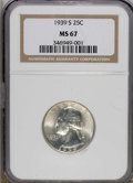 Washington Quarters: , 1939-S 25C MS67 NGC. A hint of gold toning decorates this highlylustrous and splendidly preserved Superb Gem. Well struck ...