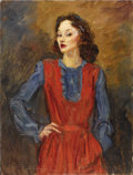 Fine Art - Painting, American:Modern  (1900 1949)  , CHARLES DANA GIBSON (American 1867- 1944). Girl in Red andBlue, 1942. Oil on canvas. 37 x 28 inches (94 x 71.1 cm).Sig...
