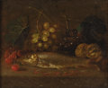 Fine Art - Painting, European:Other , FRENCH SCHOOL (Eighteenth Century). Still Life With Fish,Cherries, Walnuts And Grapes. Oil on canvas. 13 x 16 inches(3...