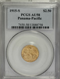 Commemorative Gold: , 1915-S $2 1/2 Panama-Pacific Quarter Eagle AU58 PCGS. PCGSPopulation (56/2049). NGC Census: (31/1702). Mintage: 6,749. Num...