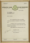 Autographs:Letters, 1932 Lou Gehrig Signed Autograph Request Letter. Mailed from San Francisco on September 6, 1932, this letter was likely wai...