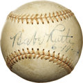 Autographs:Baseballs, 1948 Babe Ruth Single Signed Baseball. Three days after he made hisfinal appearance at Yankee Stadium to attend the ceremo...