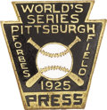 Baseball Collectibles:Others, 1925 World Series Press Pin (Pittsburgh Pirates). Presenting a NRMTappearance to the naked eye, this scarce and gorgeous r...