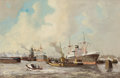Fine Art - Painting, American:Contemporary   (1950 to present)  , J.H. PETARY (American). Ships at the Docks. Oil on canvas. 24 x 36 inches (61.0 x 91.4 cm). Signed lower right: JH Pet...