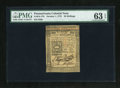 Colonial Notes:Pennsylvania, Pennsylvania October 1, 1773 50s PMG Choice Uncirculated 63 EPQ....