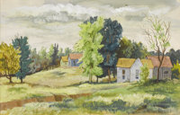 BROR UTTER (American, 1913-1993) Old Farm House, 1944 Watercolor on paper 9 x 13-1/2 inches (22.9