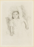 Prints:American, MARY STEVENSON CASSATT (American, 1844-1926). Jeanette Wearing aBonnet, No. 3, 1904. Drypoint. 9 x 6-1/4 inches (22.9 x...