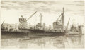 Prints, JOHN TAYLOR ARMS (American, 1887-1953). Destroyers in Wet Basin at Federal Shipbuilding and Drydock Company, South Kearny,...