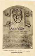 Autographs:Post Cards, 1950's Mel Ott Twice Signed Hall of Fame Plaque. Beginning a sad trend in 1958 of New York Giants Hall of Famers perishing i...