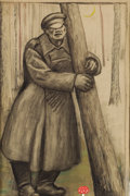 Fine Art - Painting, European:Modern  (1900 1949)  , RUDOLF BAUER (German, 1889-1953). Sorrow. Charcoal andpastel on laid paper. 19 x 12-1/4 inches (48.3 x 31.1 cm).Signed...