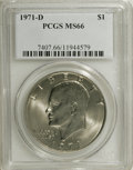 Eisenhower Dollars: , 1971-D $1 MS66 PCGS. PCGS Population (685/15). NGC Census: (508/36). Mintage: 68,587,424. Numismedia Wsl. Price for NGC/PCG...