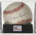 Autographs:Baseballs, Warren Spahn Single Signed Baseball PSA NM/MT + 8.5. NationalLeague All-Star 14 times and member of the Hall of Fame, Warr...