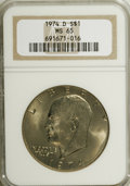 Eisenhower Dollars: , 1974-D $1 MS65 NGC. NGC Census: (992/243). PCGS Population (1052/363). Mintage: 45,517,000. Numismedia Wsl. Price for NGC/P...