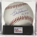 "Autographs:Baseballs, Bobby Doerr ""HOF 86"" Single Signed Baseball PSA Mint + 9.5. TheBoston Red Sox Hall of Famer makes note of his induction da..."