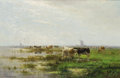Paintings, CORNELIS WESTERBEEK (Dutch, 1844-1903). Grazing Cattle, 1896. Oil on canvas. 21 x 31 inches (53.3 x 78.7 cm). Signed low...
