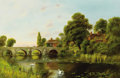 Paintings, WILLIAM LANGLEY (British, 1852-1922). Swans by the Bridge. Oil on canvas. 20 x 30 inches (50.8 x 76.2 cm). Signed lower ...