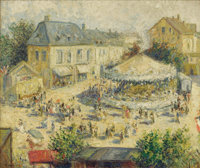 GUSTAVE MADELAIN (French, 1867-1944) Le Manege Oil on canvas 18 x 21 inches (45.7 x 53.3 cm) S
