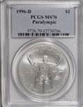 Modern Issues: , 1996-D $1 Olympic/Paralympics Silver Dollar MS70 PCGS. PCGS Population (42/0). NGC Census: (72/0). Numismedia Wsl. Price f...