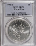 Modern Issues: , 1994-D $1 World Cup Silver Dollar MS70 PCGS. PCGS Population (17/0). NGC Census: (48/0). Mintage: 81,698. Numismedia Wsl. P...