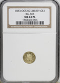 California Fractional Gold: , 1853 $1 Liberty Octagonal 1 Dollar, BG-505, R.4, MS63 ProoflikeNGC. NGC Census: (2/3). (#710482)...
