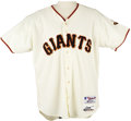 Baseball Collectibles:Uniforms, 2001 Barry Bonds Career Home Run #553 Game Worn Jersey. Home white San Francisco Giants jersey is the very one worn by the ...