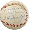 Autographs:Baseballs, 1961 Cal Hubbard, Joe Cronin & Will Harridge Signed Baseball. Avintage notation in an unknown hand upon this ONL (Giles) b...
