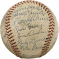 Autographs:Baseballs, 1938 Pittsburgh Pirates Team Signed Baseball with Honus Wagner. This swashbuckling crew stood atop the National League heap...