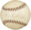 Autographs:Baseballs, 1932 Babe Ruth & Lou Gehrig Signed Baseball. Note the faintremnants of the red John Heydler presidential stamping on the s...