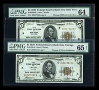 Fr. 1850-B $5 1929 Federal Reserve Bank Note PMG Choice Unc 64 Fr. 1850-G $5 1929 Federal Reserve Bank Note PMG Gem Unc...