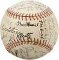 "Autographs:Baseballs, 1941 St. Louis Cardinals Team Signed Baseball. Stan the Man (or perhaps ""the Boy"" in this case) made his Major League debut ..."