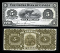 Canadian Currency: , Toronto, ON- The Crown Bank of Canada $5 June 1, 1904 Ch. #215-10-02P Face and Back Proofs. ... (Total: 2 notes)